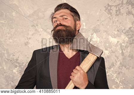 Good Beard Needs Good Blade. Bearded Man Hold Axe Blade. Beard Grooming Tool. Cutthroat Beard Shavin