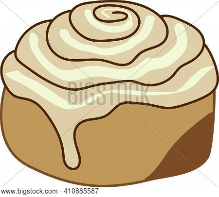 Clipart Style Cinnamon Roll With Frosting Dripping Off The Side