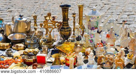 Kyiv, Ukraine - August, 16 2020: Antique Flea Market. Selling And Buying Antiques Items And Collecta