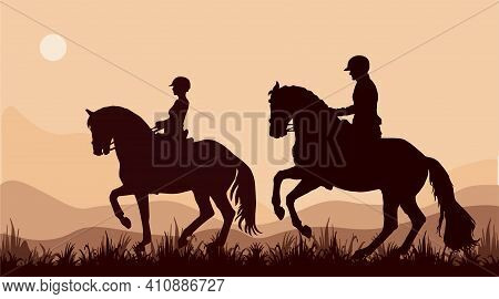 Isolated Realistic Silhouettes Of Two Riders Against The Sky
