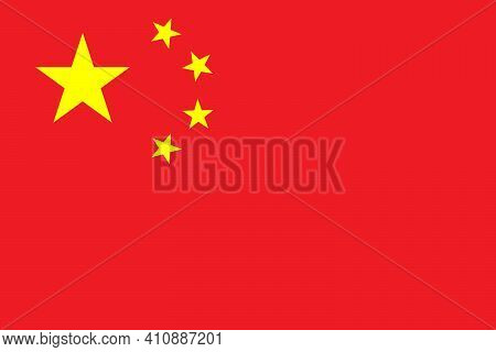 National Flag Of China In The Original Colours. As Close As Possible To The Original