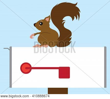 A Flat Vector Cartoon Squirrel Is Resting On A Country Mailbox