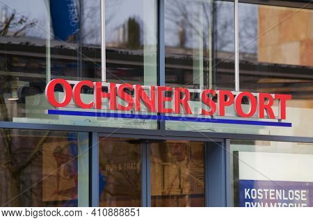 Zug, Switzerland - 26th February 2021 : Ochsner Sport Sign Hanging In Front Of A Store In Zug, Switz