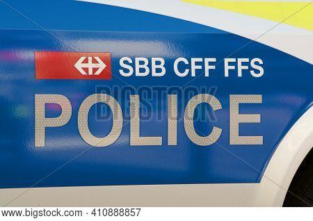 Bellinzona, Ticino, Switzerland - 25th February 2021 : Sbb Cff Ffs Police Sign On A Car Body. Sbb Cf