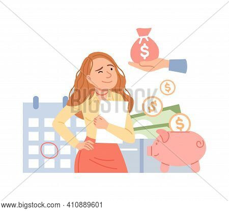 Salary Increase Concept. Financial Income Growth, Cash Payment, Accounting Service, Tax Pay, Payroll