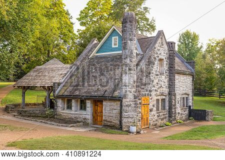 Ancient Stone Building Dairy House - Front Angled View