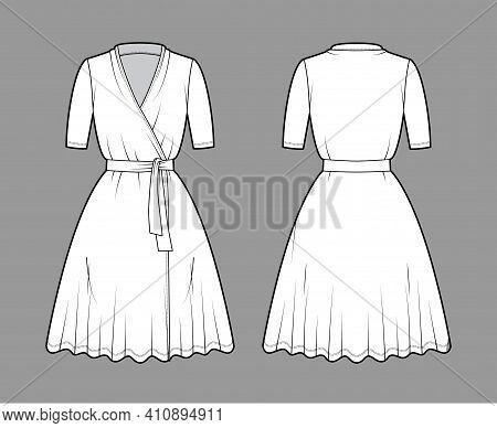Wrap Dress Technical Fashion Illustration With Deep V-neck, Short Sleeves, Oversized, Knee Length, C