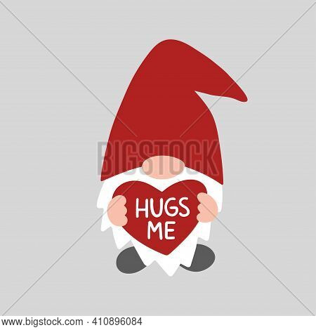 Valentine Gnome Isolated On White Background. Valentines Day Holiday Vector Illustration. Hugs Me. C