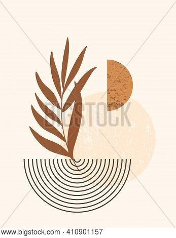 Abstract Boho Illustration With Abstract Shapes And Leaves In Trendy Minimal Style. Vector Contempor