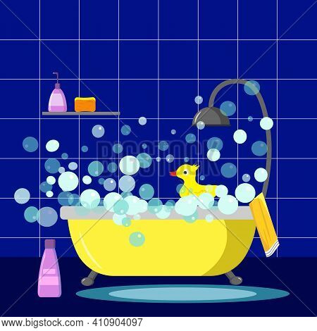 Bathroom, Shower And Shampoo, Bathroom Interior. Attributes For The Adoption Of Hygiene Procedures.