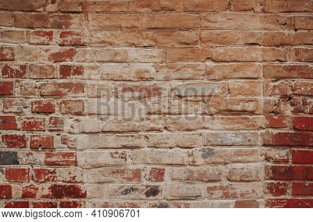 The Texture Of An Old Brick Wall With Natural Defects. Scratches, Cracks, Crevices, Chips, Dust, Rou