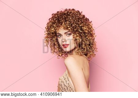 Woman Curly Hair Attractive Look Red Lips Model