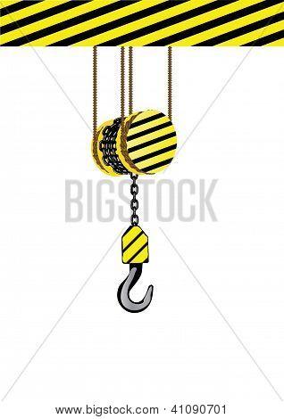 Vector Illustration An Iron Hook On A Chain.