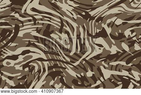 Camo Texture For Army Clothing. Zebra Stylish Safari Camo Background. Soldier Sand Brown And Beige C