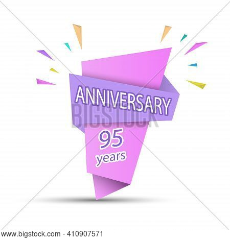 Anniversary 95 Years. Colored Banner For Congratulations And Thematic Design. Stock Vector Illustrat