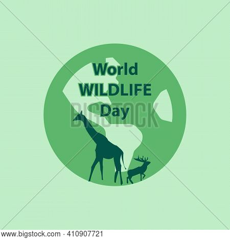 World Wildlife Day With The Animal In Forest,  Animals On Planet Earth.  Save Wildlife. Vector Illus