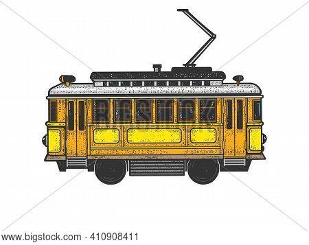 Vintage Tram Color Sketch Engraving Vector Illustration. T-shirt Apparel Print Design. Scratch Board