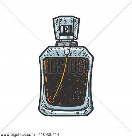 Bottle Of Perfume Color Sketch Engraving Vector Illustration. T-shirt Apparel Print Design. Scratch