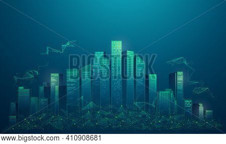 Concept Of Smart City Or Digital City, Graphic Of Buildings With Low Poly Element Presented In Futur