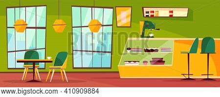 Cafe Or Cafeteria Interior Vector Illustration Of Cartoon Patisserie. Cartoon Flat Indoor Interior D