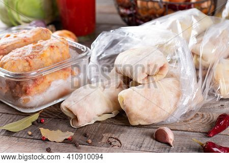 The Meat Frozen Semi-finished Stuffed Cabbages. Traditional Dish. Frozen Food.