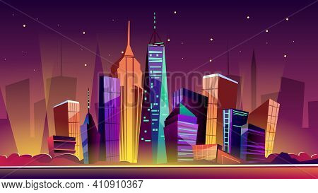 New York Cityscape Vector Illustration. Cartoon New York Landmarks In Night, Freedom Tower On One Wo