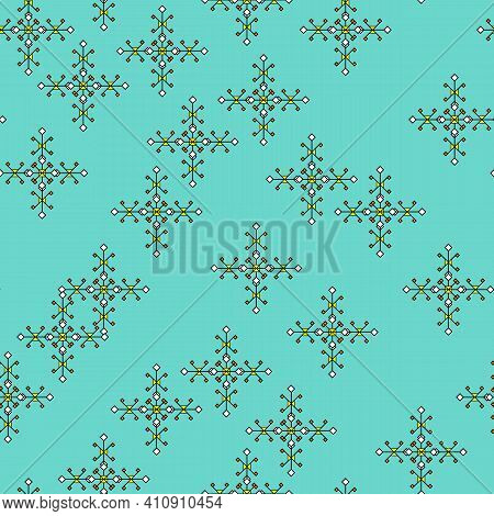 Seamless Print Of Small Rhombuses And Squares, Pattern With Abstract Geometric Elements In The Shape