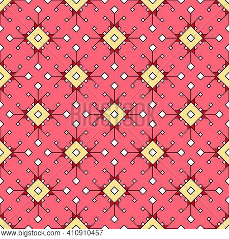 Modern Seamless Geometric Texture Of A Scattering Of Squares And Rhombuses In Red And Pink Tones.