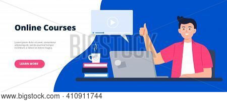Banner For A Site With A Distance Education Theme. Online Education, E-learning, Studying At Home, T
