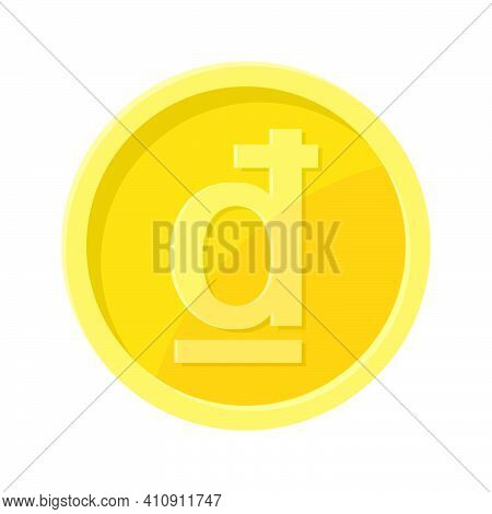 Simple Illustration Of Dông Coin Concept Of Internet Currency. Flat Style