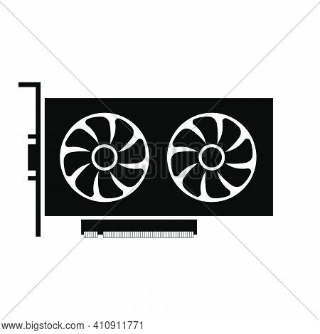 Simple Illustration Of Graphics Card Gpu. Personal Computer Component Icon