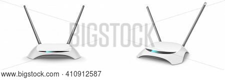 Wifi Router, Wireless Broadband Modem With Antennas In Front And Perspective View. Vector Realistic