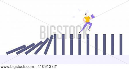 Domino Effect Or Business Cowardice Metaphor Vector Illustration Concept. Adult Young Businessman Ru