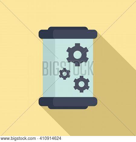 Cylinder Nanotechnology Icon. Flat Illustration Of Cylinder Nanotechnology Vector Icon For Web Desig