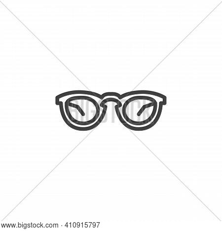 Fashion Spectacles Line Icon. Sun Glasses Linear Style Sign For Mobile Concept And Web Design. Eyegl