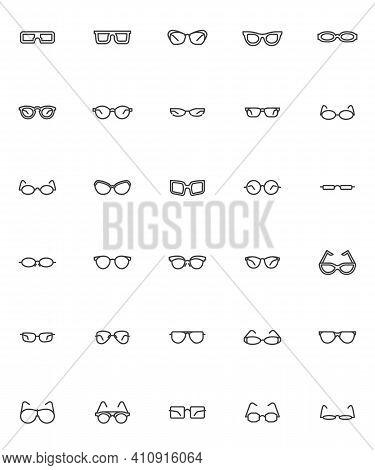Glasses Frame Line Icons Set. Eyeglasses Shapes Linear Style Symbols Collection, Sunglasses Outline