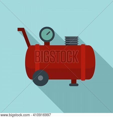 Pressure Air Compressor Icon. Flat Illustration Of Pressure Air Compressor Vector Icon For Web Desig