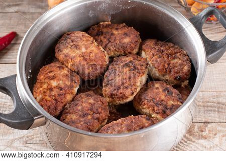 Fried Cutlets In A Saucepan. Homemade Cutlets, Diet Food, Healthy Food