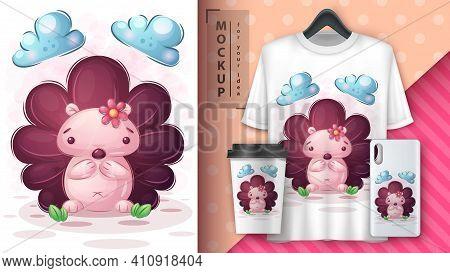 Cute Hedgehog Poster And Merchandising. Vector Eps 10