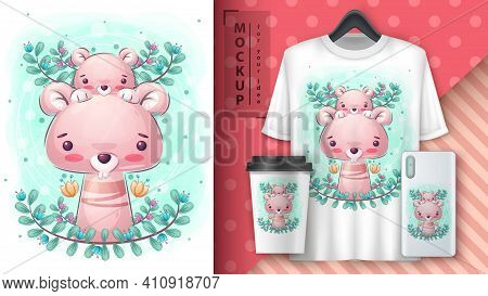 Mouse In Leaf Poster And Merchandising. Vector Eps 10