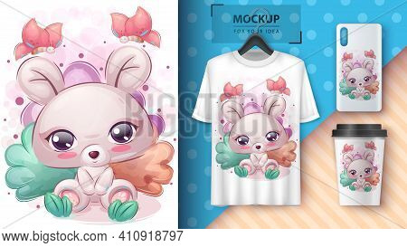 Cute Mouse Poster And Merchandising. Vector Eps 10