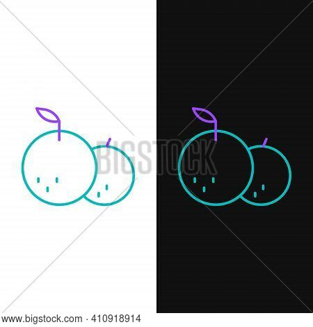 Line Tangerine Icon Isolated On White And Black Background. Merry Christmas And Happy New Year. Colo
