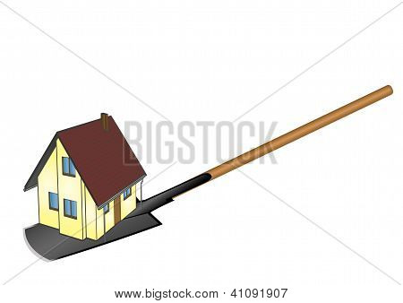 Vector Illustration The Private House Located On A Shovel