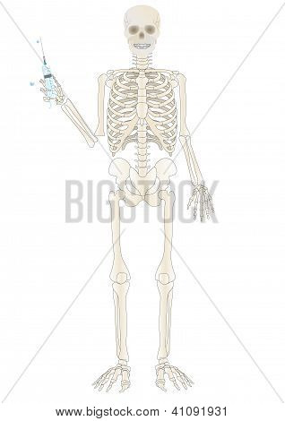 Vector A Skeleton Of The Person With A Syringe