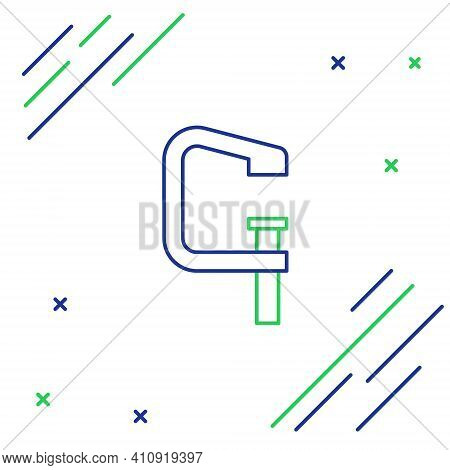 Line Clamp And Screw Tool Icon Isolated On White Background. Locksmith Tool. Colorful Outline Concep