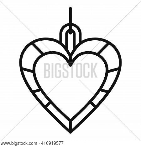 Heart Jeweler Icon. Outline Heart Jeweler Vector Icon For Web Design Isolated On White Background