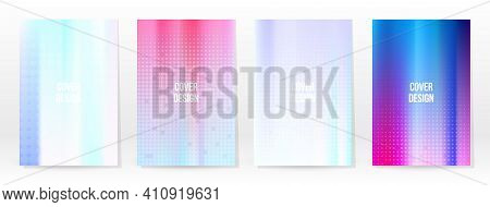 Holographic Poster Set. Iridescent Technology Cover. Mobile Graphic Template. Vector Poster. Gradien