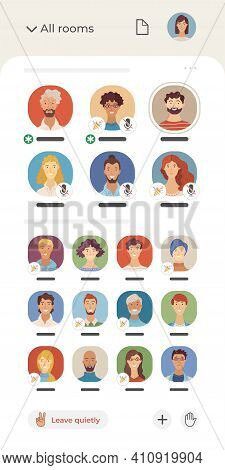 Clubhouse application interface vector template. Diversity of speakers and listeners flat avatars. Audio chat social networking app. Voice messages. Room design. Various people online communication