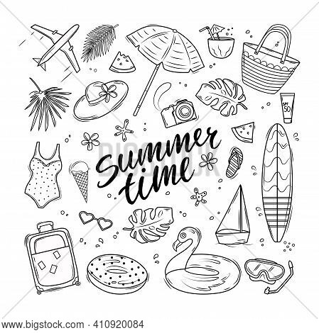 Summer Set With Swimsuit, Surfboard, Beach Bag, Swim Circles And Text. Vector Contour Illustration.