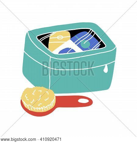 Travel Toiletry Bag With Bath Accessories And Hairbrush Nearby. Vector Cartoon Isolated Illustration